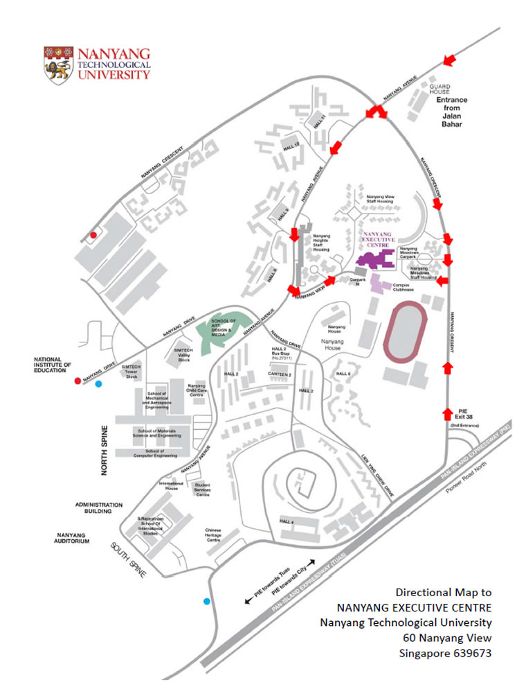 Directional Map to Nanyang Executive Centre for ISPAC 2016.