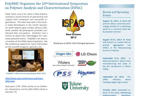 PolyRMC Organizes the 26th International Symposium on Polymer Analysis and Characterization (ISPAC)